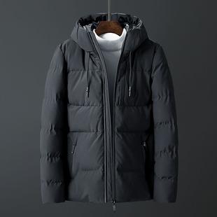 连帽棉衣男士冬季外套韩版潮流纯色棉服冬装短款加厚保暖棉袄子潮