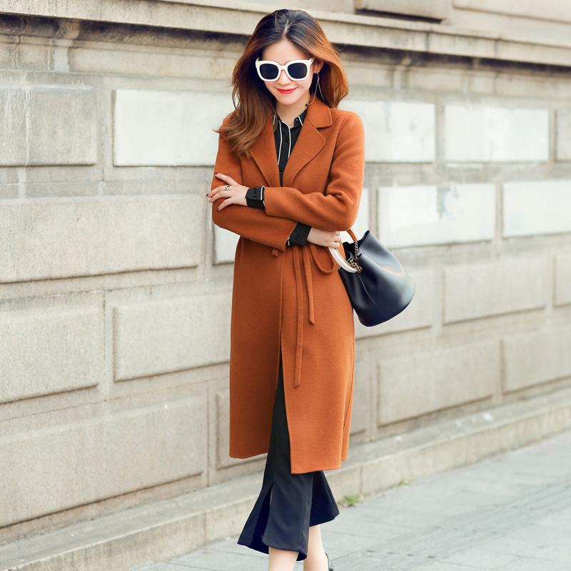 显贵2017新款秋冬外套女双面呢大衣收腰显瘦羊绒呢子大衣中长款