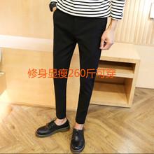 夏(小)西裤胖的弹力修身西装裤男 加肥cn14大码纯rt瘦九分裤