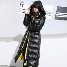 羽绒服女h21长款长过001年新款白鸭绒黑色亮面免洗加厚冬季外套