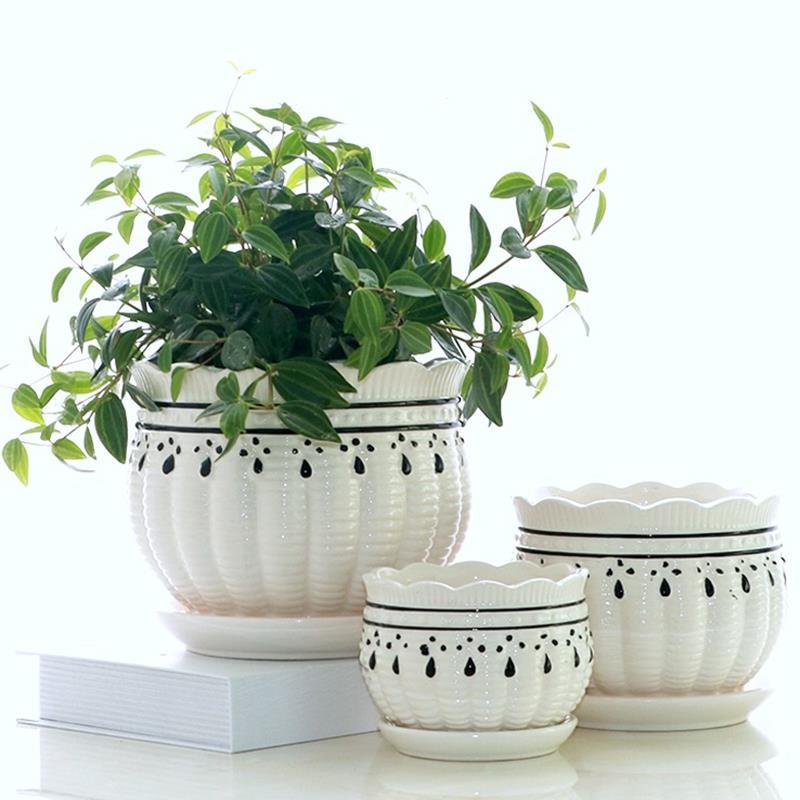 大号花盆陶瓷带托盘清仓室内绿植盆栽创意绿萝吊兰特价包邮