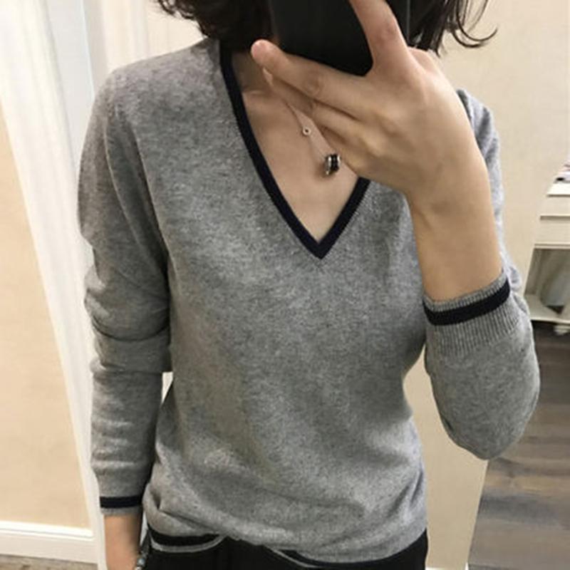 【第二件0元】秋冬针织羊绒衫女V领套头慵懒宽松毛衣时尚打底毛衫