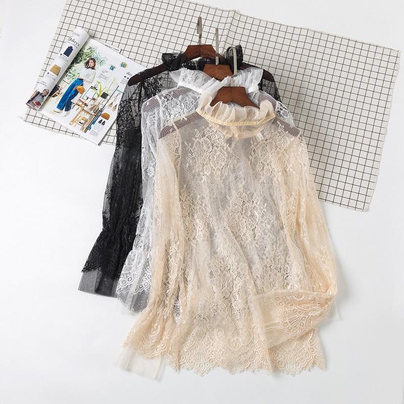 秋冬季新款女士高领蕾丝衫薄款钩花镂空内搭套头网纱长袖打底上衣