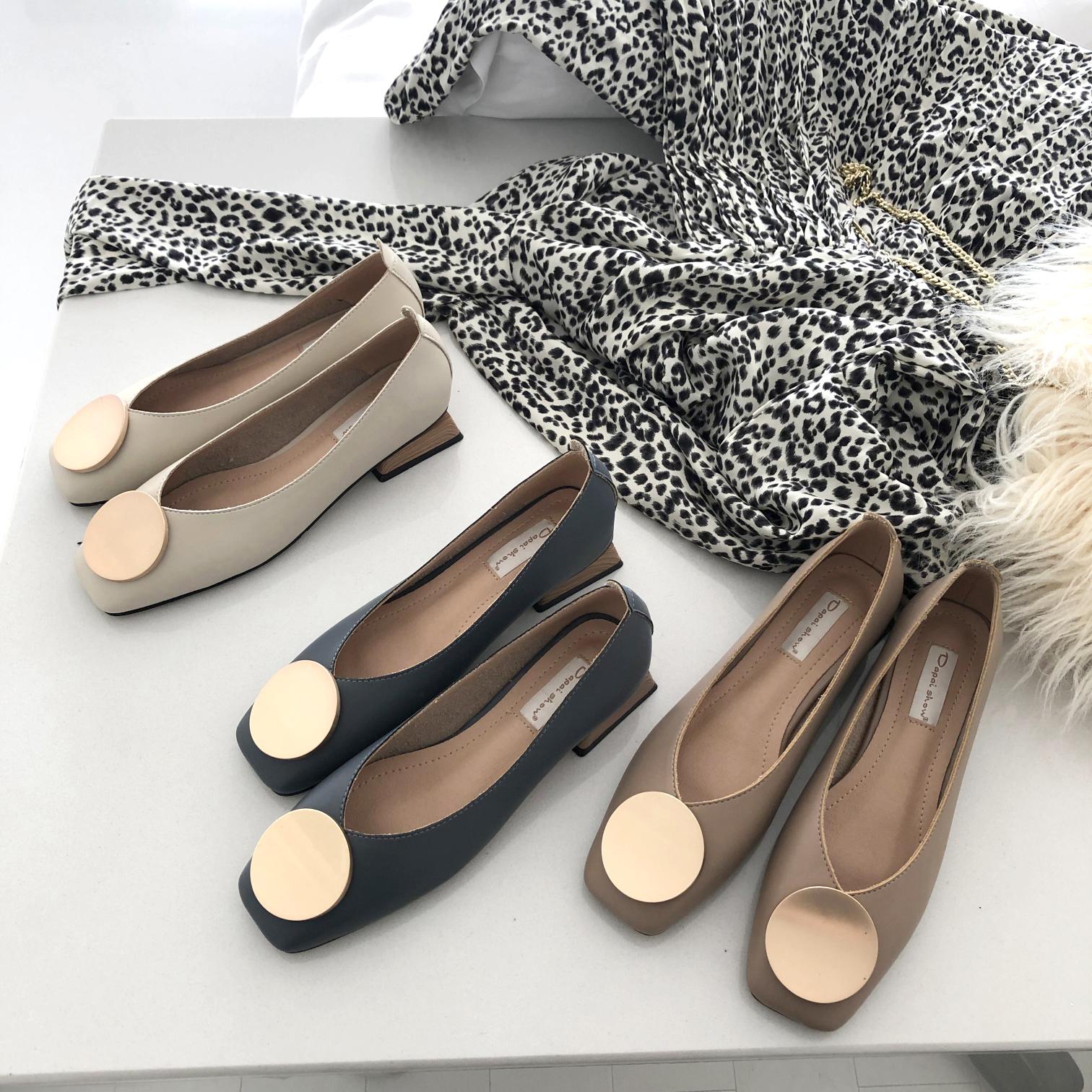 小复古气质浅口方头金属圆扣粗跟单鞋软皮舒适百搭低跟工作鞋女鞋