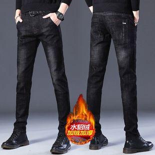 冬季学生潮流加绒加厚牛仔裤男士弹力韩版紧身小脚直筒男生裤子