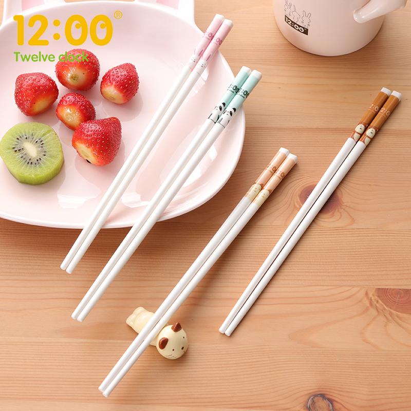 筷子防滑防霉陶瓷家用儿童可爱个性日式长筷子套装创意家庭装高档