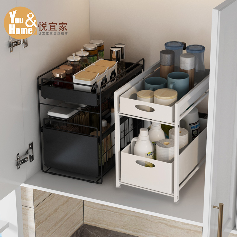厨房置物架落地式台面抽拉式家用大全储物橱柜下用品下水槽收纳架