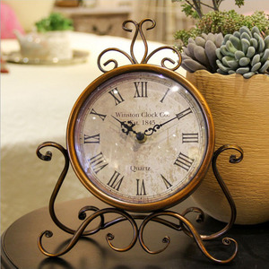 Retro iron creative student clock mute alarm clock living room bedroom cafe home restaurant decoration