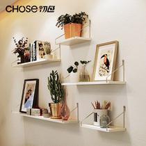 实木墙上置物架免打孔挂墙客厅电视墙面装饰卧室墙壁书架一字隔板