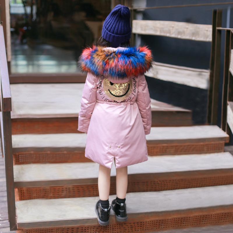 女童棉衣外套中长款儿童羽绒棉袄2018新款冬装加厚大毛领派克服潮