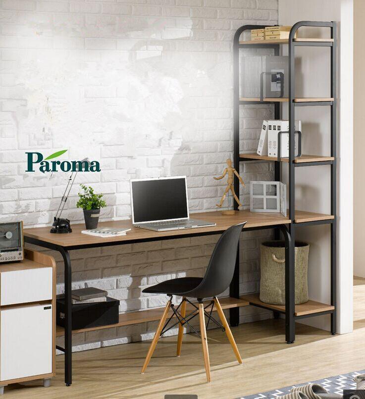 简约电脑桌台式家用带书架一体小户型卧室书桌组合简易写字学习桌