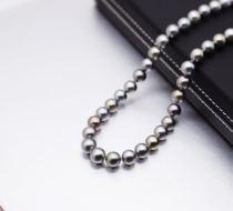 小樱桃珠宝 9-11mm独特银灰色大溪地天然海水珍珠项链强光泽气质