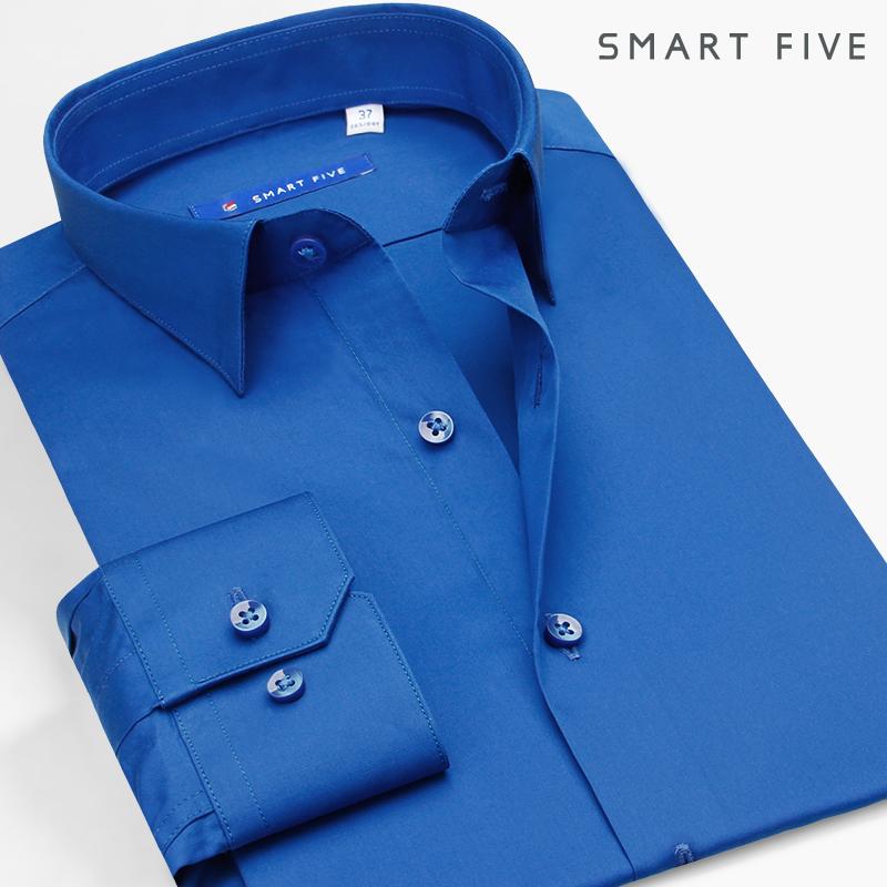 SmartFive 时尚商务方领衬衫男纯棉丝光棉修身免烫纯色男长袖衬衣