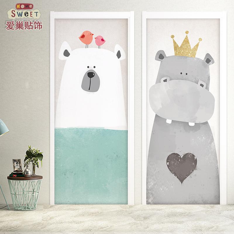 北欧萌宠包门贴纸木门装饰创意翻新客厅自粘防水卧室可爱卡通宿舍