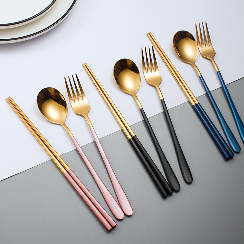 304不锈钢筷子勺子叉子家用餐具套装ins风网红单人装三件套便携