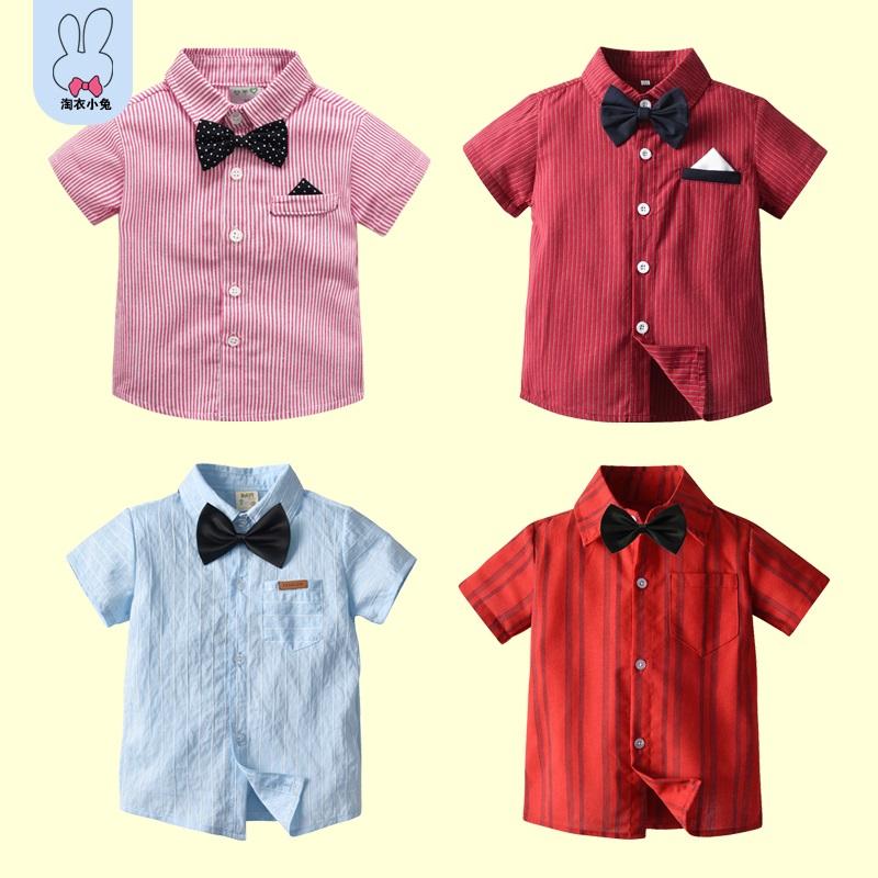男童短袖衬衫花童纯棉英伦风礼服夏季条纹全棉衬衣时尚薄款上衣潮