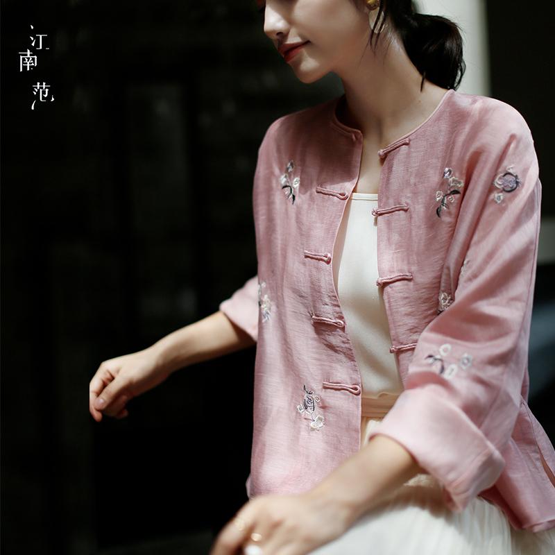 江南范新式中国风改良汉服刺绣上衣唐装开衫对襟盘扣外套女夏