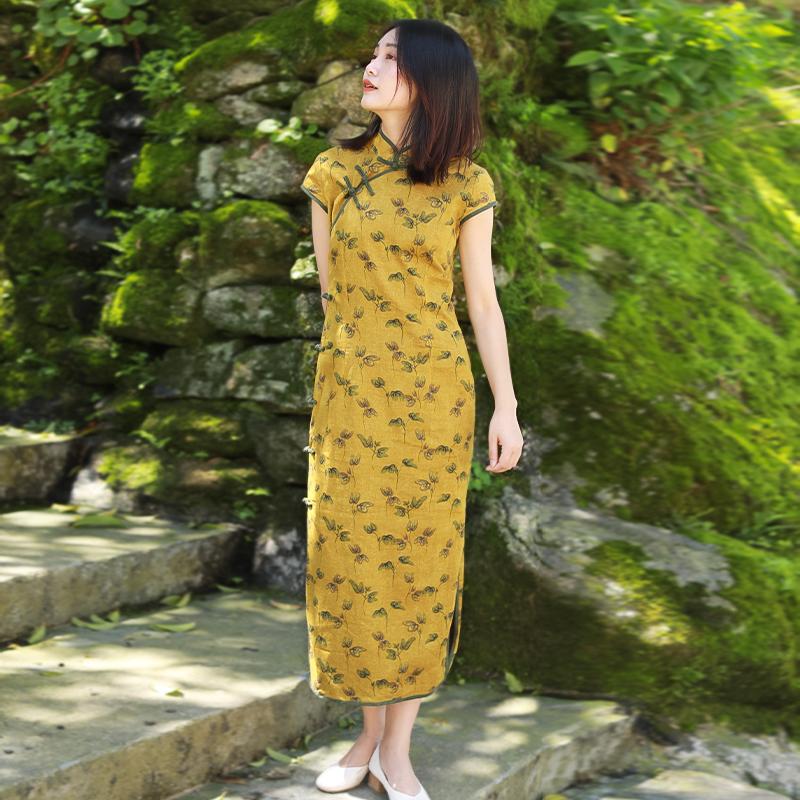民国风中式改良旗袍复古女装中国风春夏棉麻连衣裙高端亚麻禅意裙