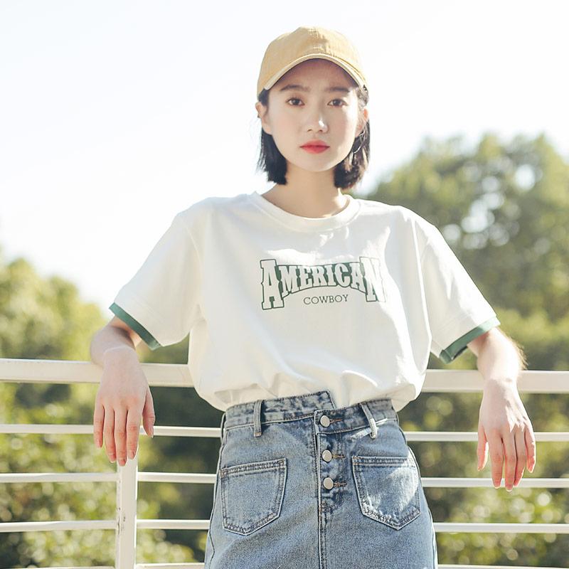 白色短袖t恤女装2018新款潮夏装学生宽松韩版ulzzang百搭体恤上衣