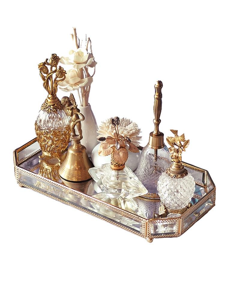 INS北欧风样板间软装金属玻璃镜面收纳托盘浴室香薰早餐甜点盘子
