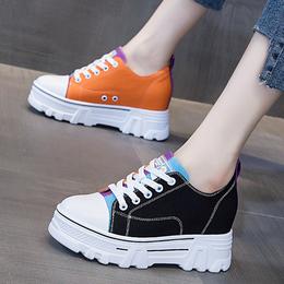 小白鞋子女2021爆款新款春季厚底内增高女鞋百搭帆布运动休闲板鞋