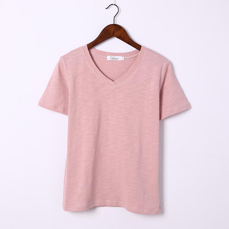 V领(竹节棉T恤)粉色