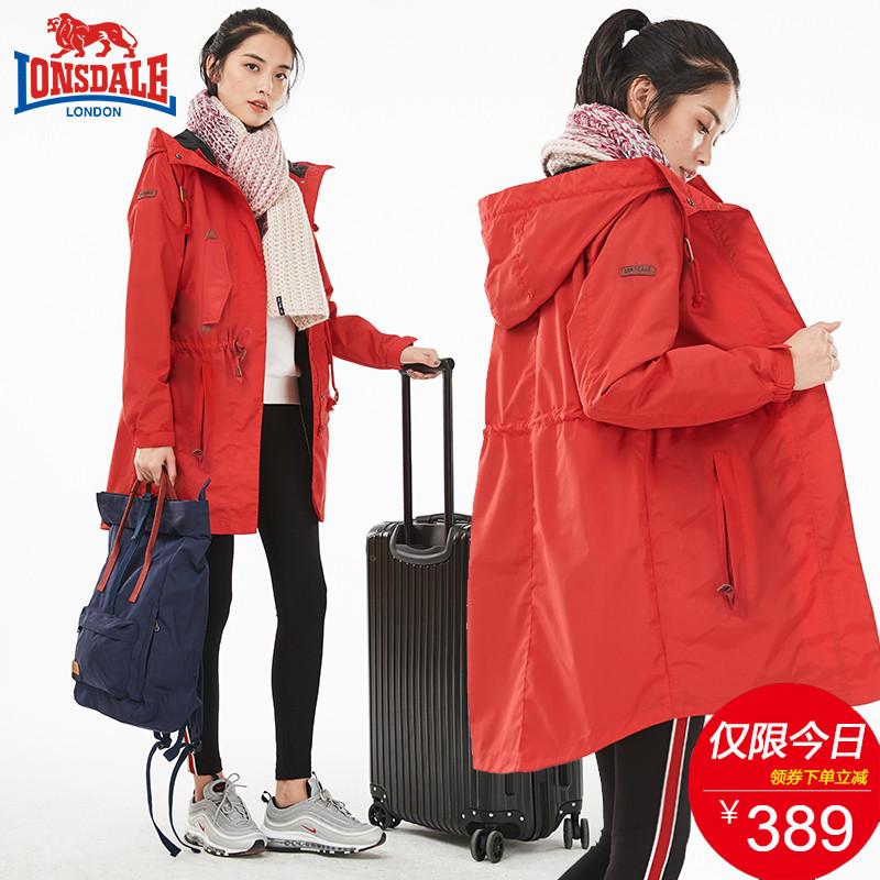 龙狮戴尔户外冲锋衣女可拆卸中长款韩国潮牌三合一加绒加厚两件套