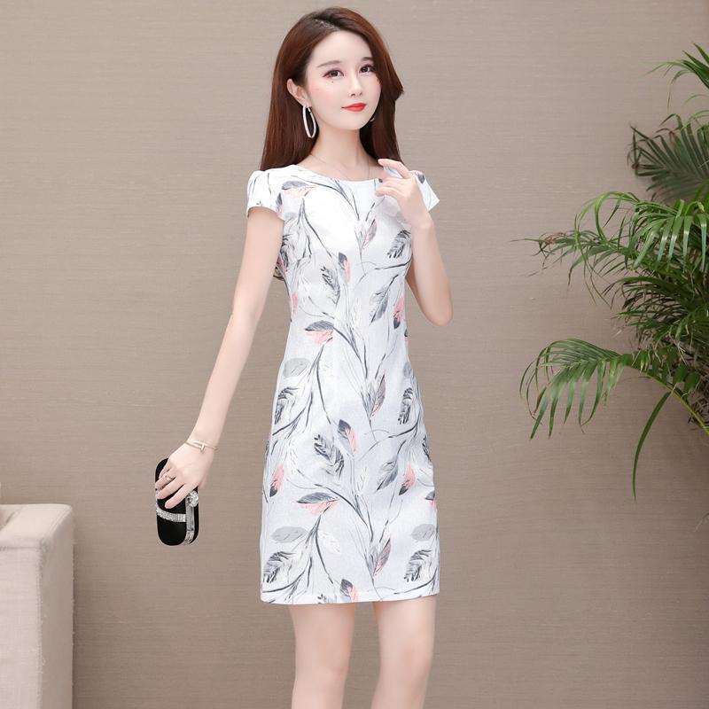 雪纺连衣裙女韩版中长款大码短袖修身裙2019夏季时尚新款包臀裙潮
