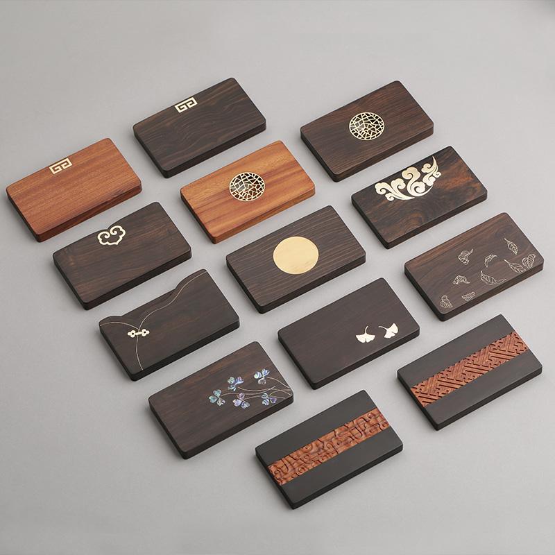 中国风复古红木便携女式桌面定制名片盒 嵌铜个性创意高档男士木质男式商务名片夹 实木卡片收纳盒子大容量