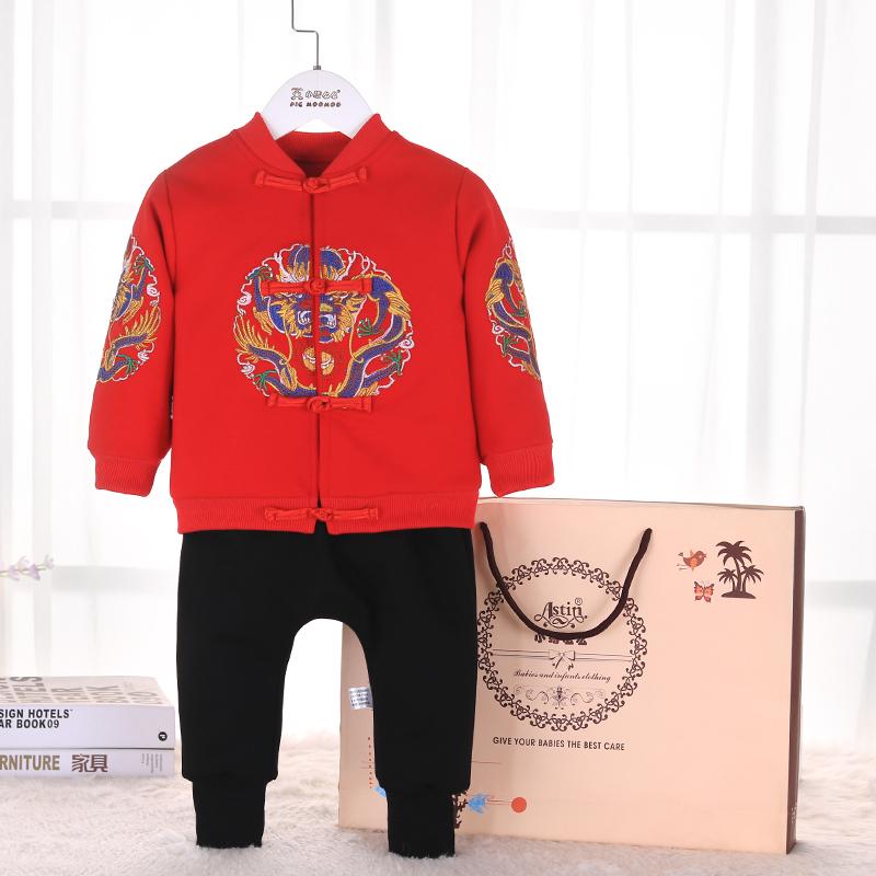 点击查看商品:0-1-2岁宝宝唐装加绒礼服过年冬装婴儿男童新年周岁拜年喜庆衣服