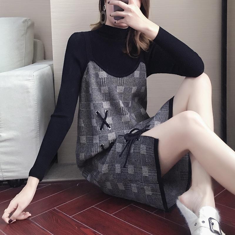 格子吊带连衣裙两件套装法式复古小香风2019初秋装毛衣女显瘦裙子