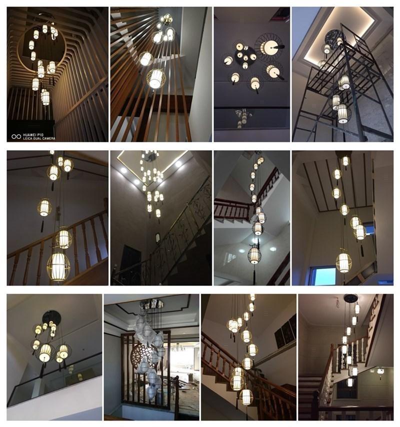 楼梯吊灯复式楼别墅旋转楼梯间鸟笼灯茶楼餐厅新中式楼梯灯长吊灯-楼尚灯饰照明