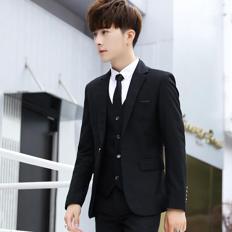 西服套装男士外套上衣青年韩版修身商务休闲职业正装秋季小西装男