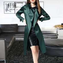 纤缤2ge021新式xe式风衣女时尚薄式气质缎面过膝品牌风衣外套
