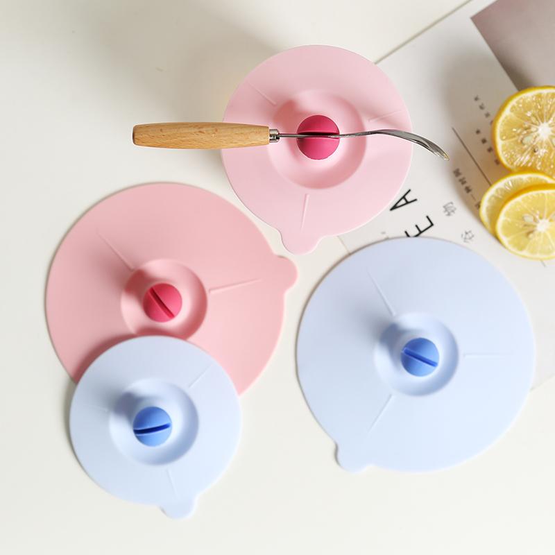 通用硅胶杯盖耐高温马克杯咖啡杯玻璃杯盖可夹勺子密封防尘盖子