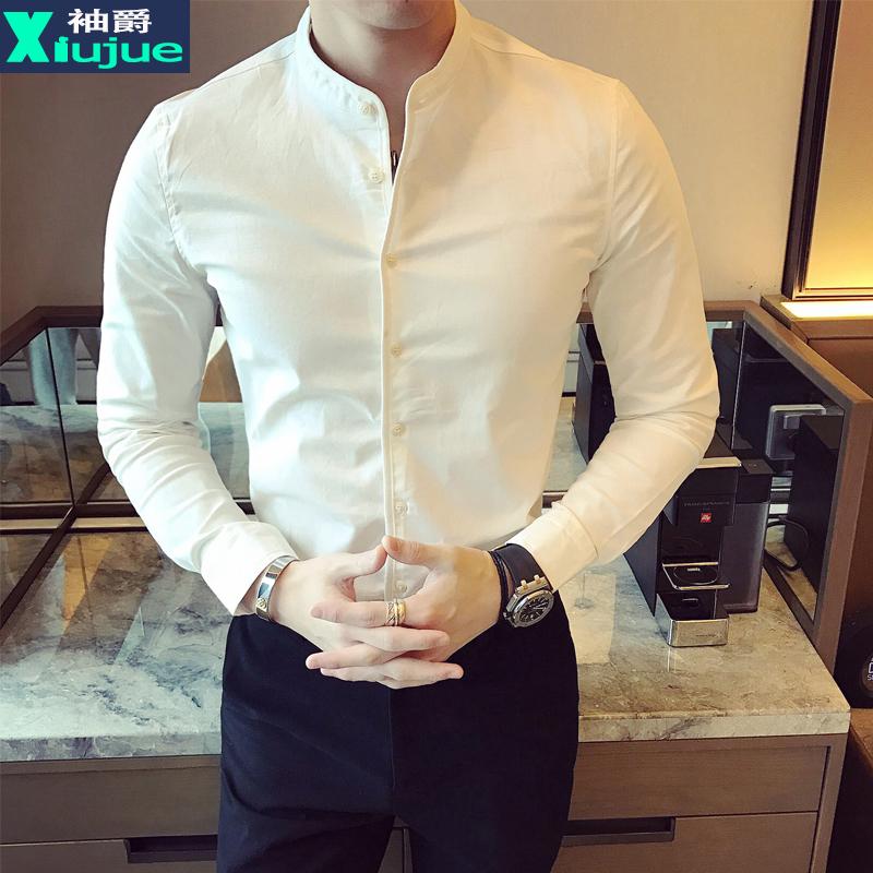 秋季中山领衬衫男长袖韩版修身男装寸衫潮流休闲帅气立领男士衬衣
