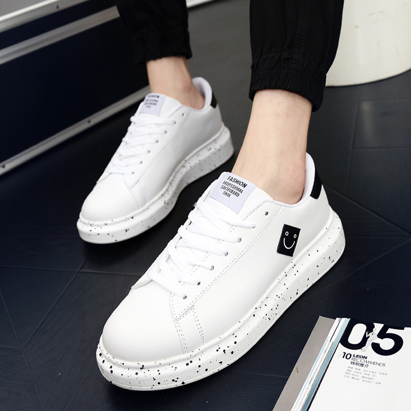 秋季情侶小白鞋厚底松