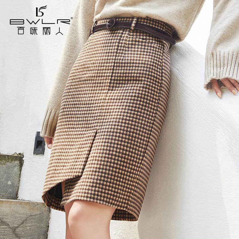 百味丽人短裙2019冬新款格子包臀裙毛呢显瘦不规则加厚半身裙8559