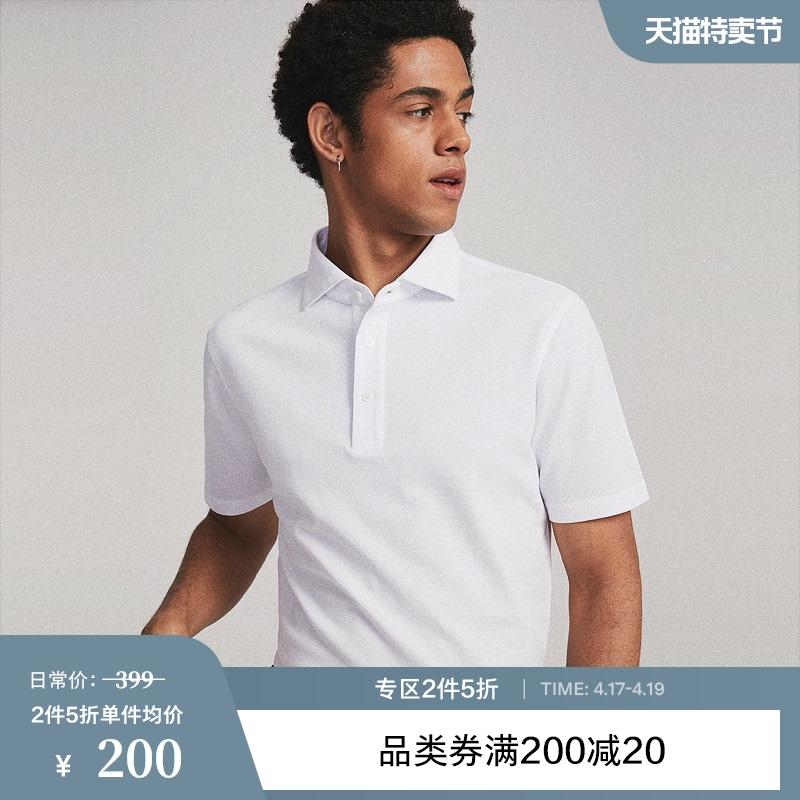 FULL MONTY白色polo衫短袖T恤翻领纯棉衬衫领商务休闲夏装纯色男