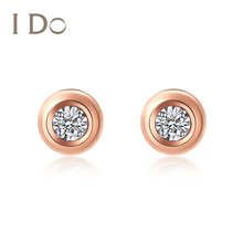 Spot I do round series 18K gold diamond earrings earrings female jewelry official authentic Ido