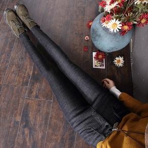 高腰加绒牛仔加厚保暖紧身弹力小脚裤