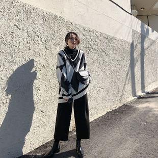 。韩都2109新款轻熟气质V领毛衣搭配阔腿裤宽松慵懒洋气两件套装