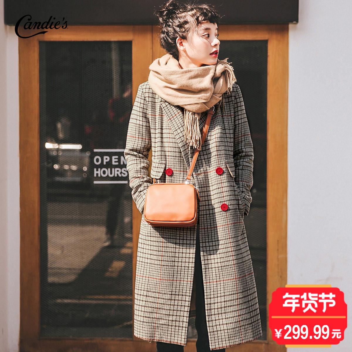 森系毛呢大衣女妮中长款2017新款秋冬季千鸟格子呢子加厚外套韩版