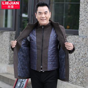 中年男装羊毛呢子夹克男士休闲上衣厚40岁50中老年人爸爸秋冬外套