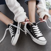 秋冬季新款加绒帆布女鞋韩版百搭二棉鞋潮鞋冬天板鞋黑色冬鞋2019