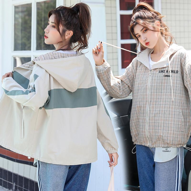 两面穿外套女2020年秋季新款韩版休闲纯棉宽松炸街连帽百搭上衣潮-美丽衣柜-
