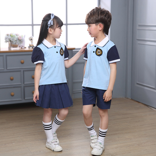 校服小学生运动短袖新款幼儿园园服夏装纯棉蓝色六一儿童班服套装