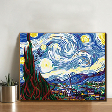 数字油画风景大幅dli6y油画手bu彩画梵高名画客厅装饰画 星空
