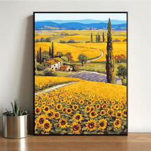 diy数字油画 客厅xp7室风景花qw色手绘装饰油彩画梵高向日葵