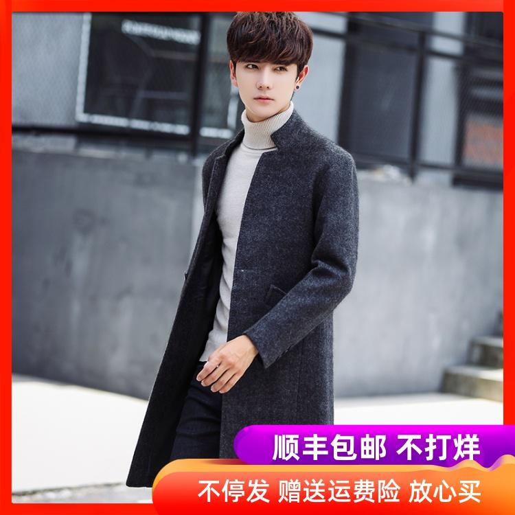 男士风衣2019秋冬装韩版潮流帅气修身中长款毛呢大衣青年呢子外套